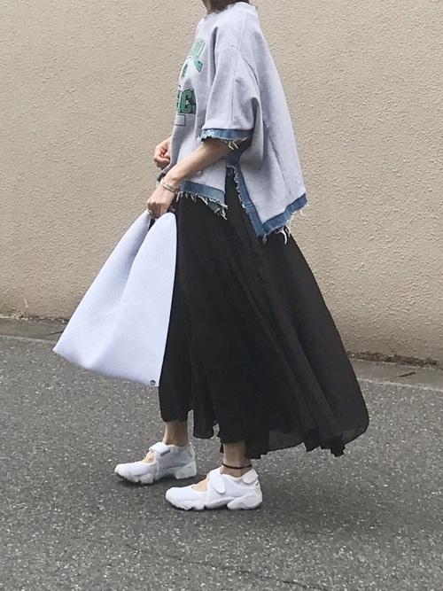 9[La-gemme] リネンマキシ丈スカート