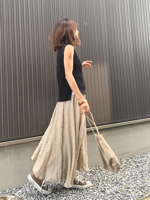 8[La-gemme] リネンマキシ丈スカート
