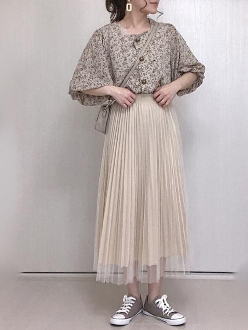 26[me Jane] チュール×サテンプリーツスカート