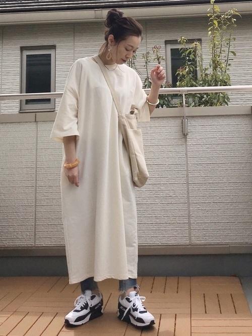 [Chaco closet] バルーンスリーブ ポケット付き 7分袖 ミニ裏毛スウェットワンピース