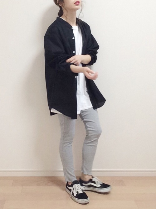 [EMMA CLOTHES] 【WEB限定】LINEN×COTTONオーバーサイズストレッチバンドカラーシャツ