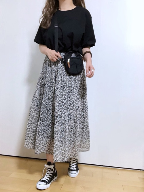 [PairPair] 花柄プリーツスカート