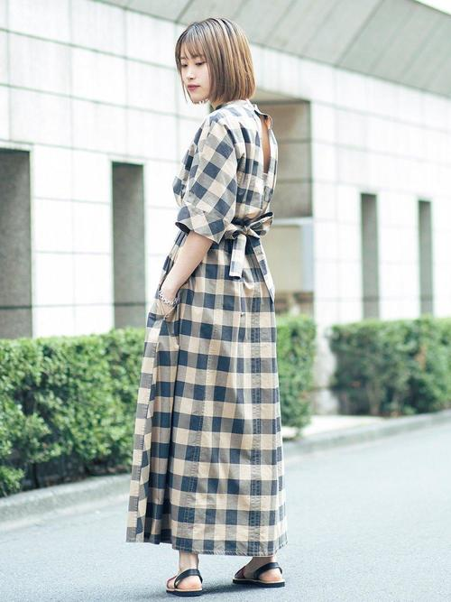 24[BEAUTY&YOUTH UNITED ARROWS] BY∴ チェックバックオープンベルトワンピース -手洗い可能-