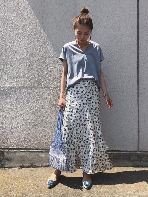 [UNITED ARROWS] UWSC フラワープリント セミフレアスカート