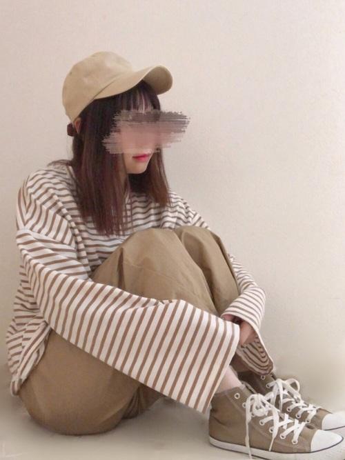 【GU】ベージュワイドパンツコーデ11
