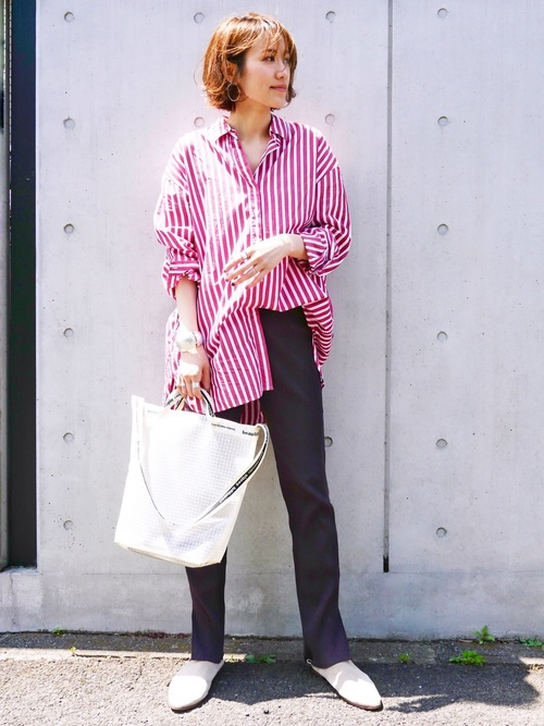 赤×白のストライプシャツ