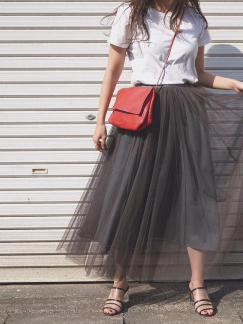 [kaene] チュール重ねスカート