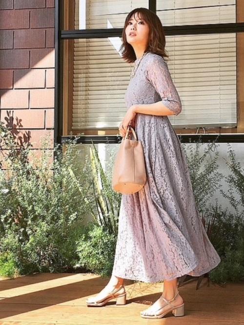 [Lace Ladies] 花柄総レースハイネックマキシ丈ワンピース・ドレス