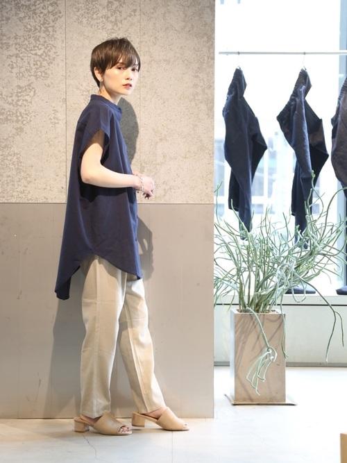 [koe] 綿麻フレンチスリーブバンドカラーシャツチュニック