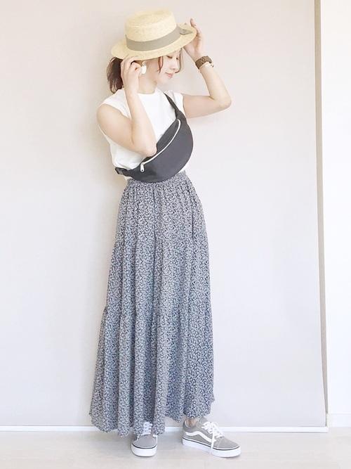 [RETROGIRL] 柄ティアードスカート