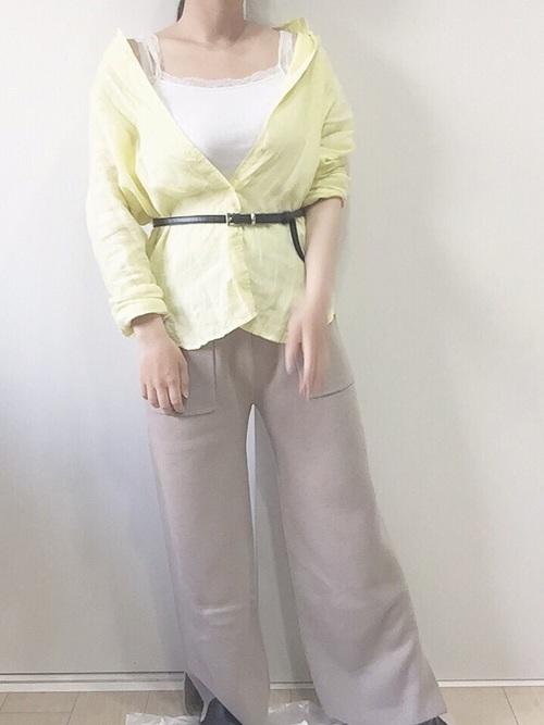 【GU】ベージュワイドパンツコーデ7