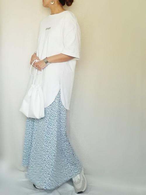 フラワープリントフレアロングスカート・ブルー