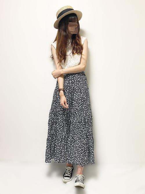 花柄スカート3