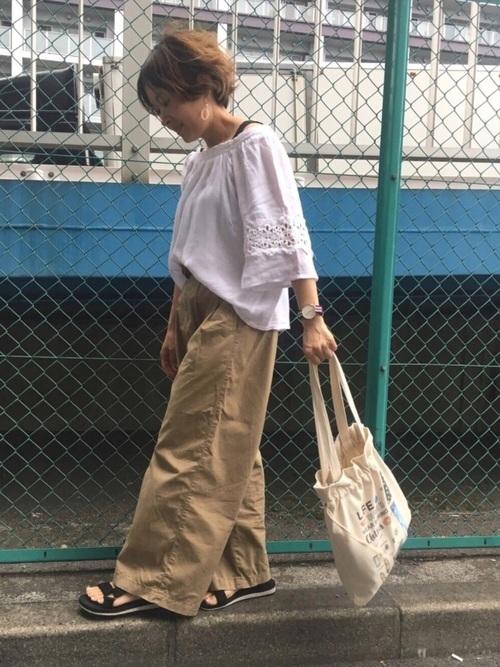 【ユニクロ】ベージュワイドパンツコーデ13