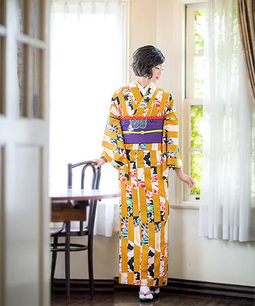 [KIMONOMACHI] 女性着物単品 単衣 金茶色変わり縞