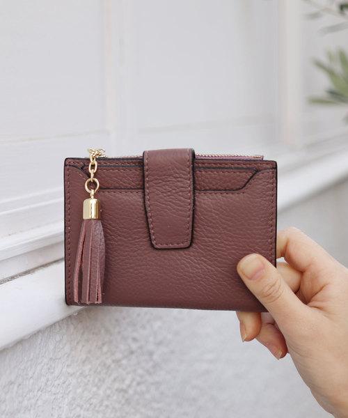 [florist] 【牛革】タッセルチャーム2つ折り財布