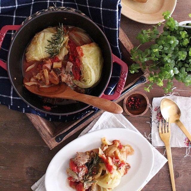 鯖缶とキャベツのトマト煮込み