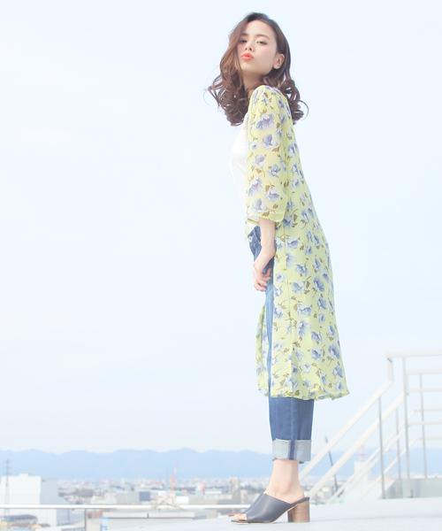 [Grandeir] [七分袖]シースルーロング花柄ガウンカーディガン