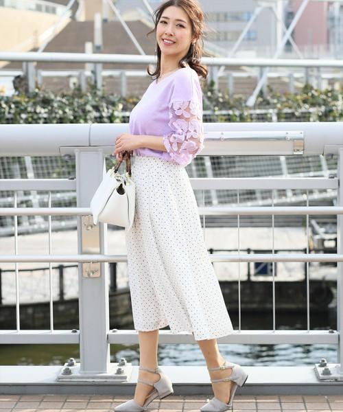 [clear] カラーツイルタックフレアスカート