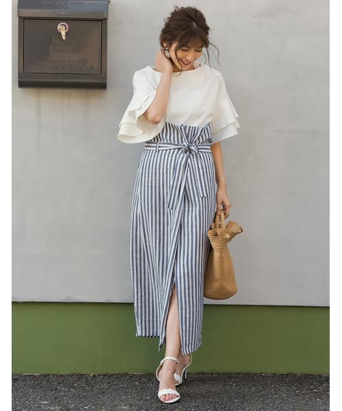 リネンタッチマリンストライプラップ風スカート
