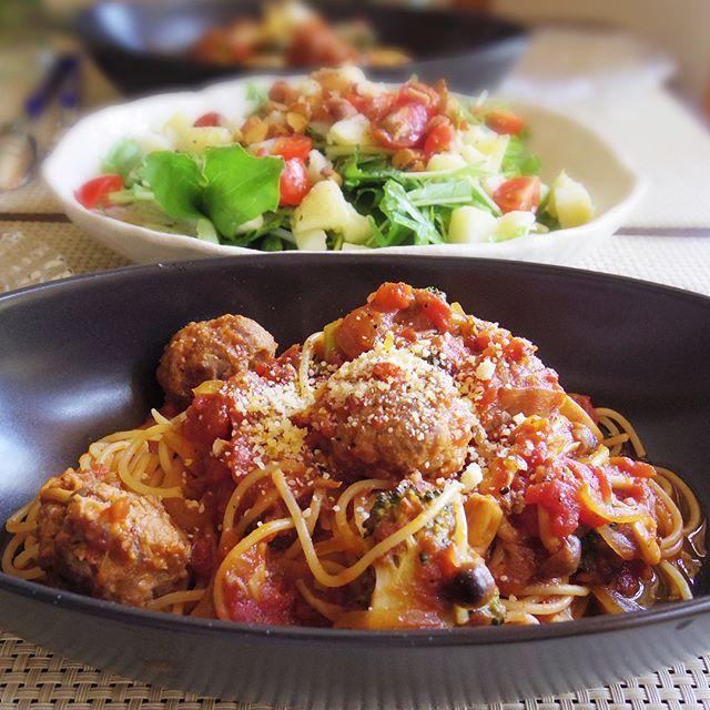 野菜 トマトソース パスタ