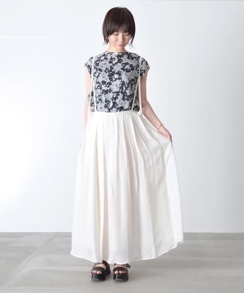 夏の白スカートコーデ
