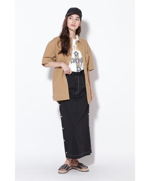 [ROSE BUD] (P.P)ウエストベルト半袖シャツ