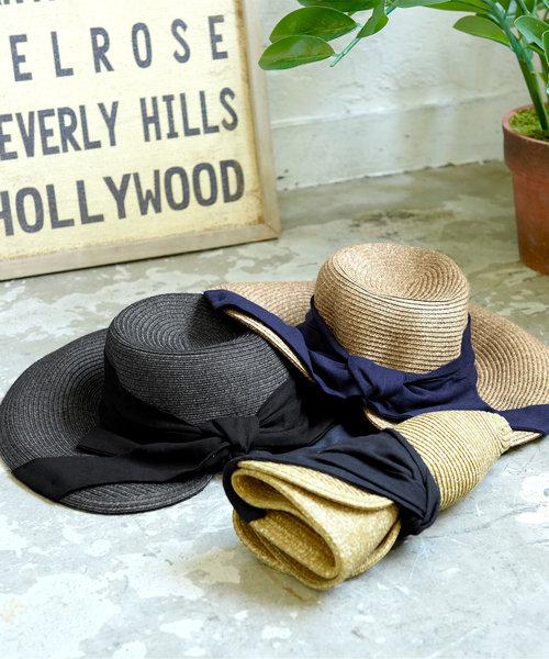 折り畳み可能☆UVカットワイドリボンコンパクトハット 麦わら帽子 レディース 紫外線カット 日焼け防止