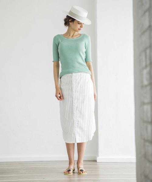 [STYLE BAR] 【STYLEBAR】エマストライプシャツスカート