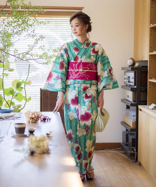 [KIMONOMACHI] レディース浴衣セット 変わり織り綿浴衣+浴衣帯の2点セット LADY STYLE2