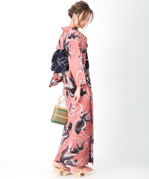 [KIMONOMACHI] レディース浴衣セット 変わり織り綿浴衣+浴衣帯の2点セット LADY STYLE4
