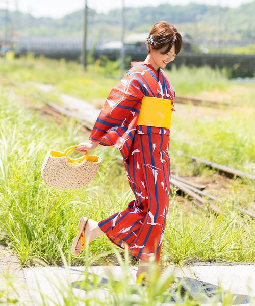 [KIMONOMACHI] レディース浴衣セット 変わり織り綿浴衣+浴衣帯の2点セット 夏色美人