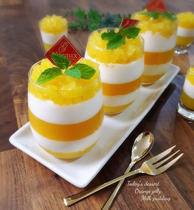 オレンジとミルクのしましまゼリー