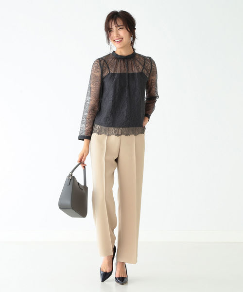 [BEAMS WOMEN] Demi-Luxe BEAMS / ギャザーネック レースブラウス 19FO