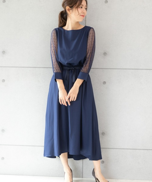 [PREFERIR] ドットチュールワンピース 【結婚式 フォーマル パーティー ドレス】