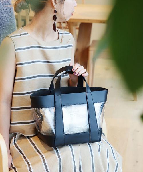 [BEAMS WOMEN] MARCO BIANCHINI / ポーチ付き クリア ハンドバッグ