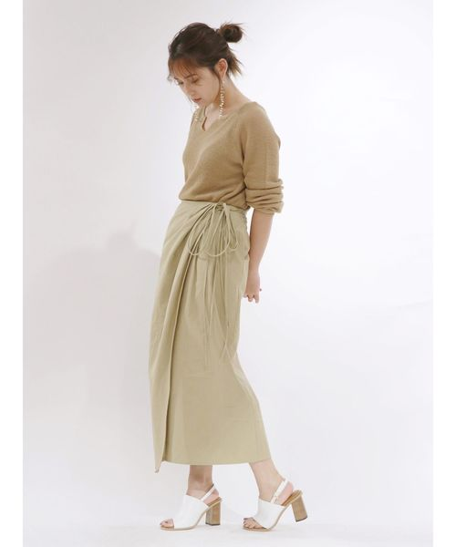 [Ungrid] デザインラップマキシスカート