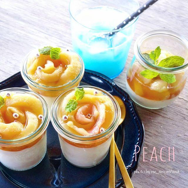 桃のヨーグルトミルクプリン