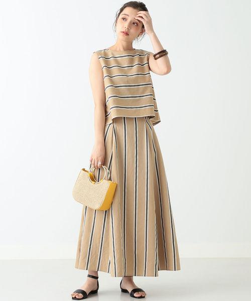 [BEAMS WOMEN] BEAMS LIGHTS / 手洗い可能 ストライプ マキシ丈スカート