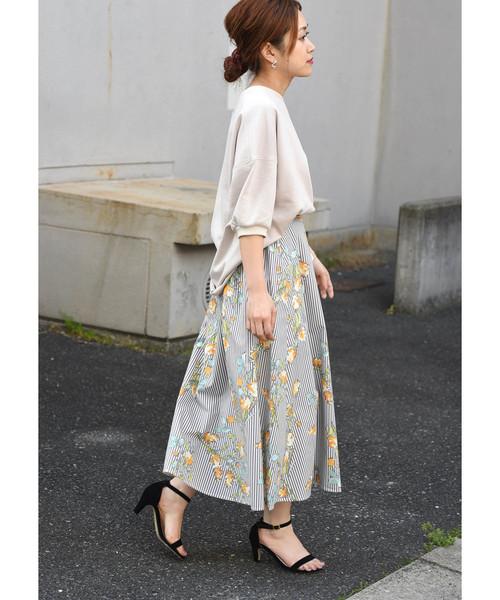 [Eimee Law & WASH] ストライプ×花柄フレアロングスカート