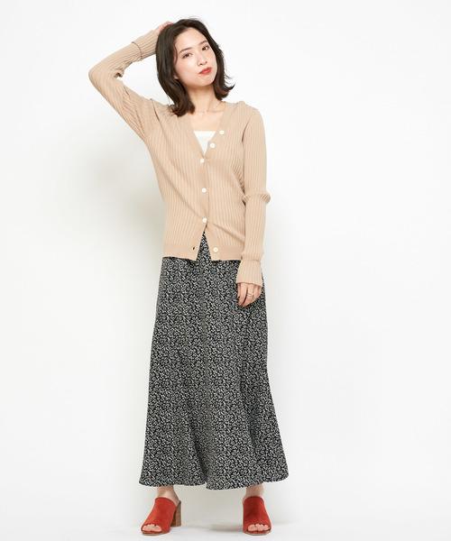 マーメイドロングスカート/ドット/花柄/フラワープリント/マキシ丈