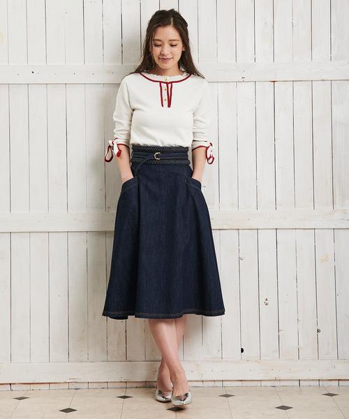 [Noela] デニムAラインスカート