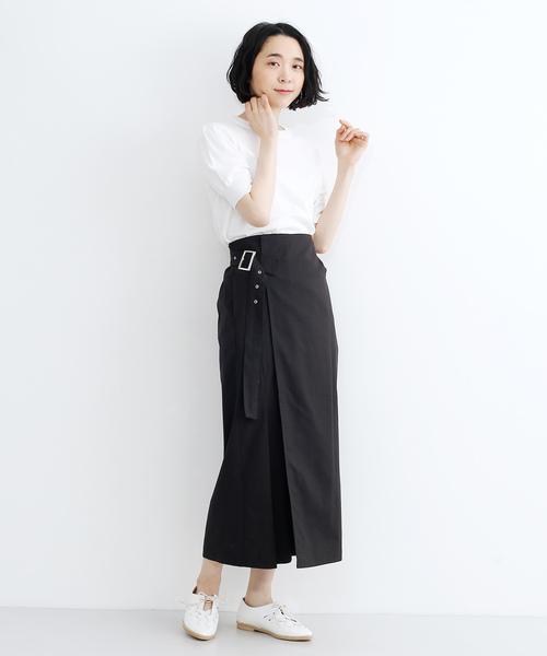 [merlot] サイドベルトラップスカート079-7114