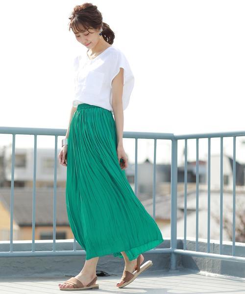 [coen] 【新色追加・WEB限定カラー⇒グリーン】クリンクルプリーツロングスカート
