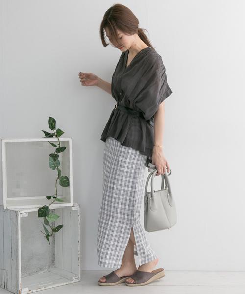 [URBAN RESEARCH DOORS] リネンチェックタイトスカート