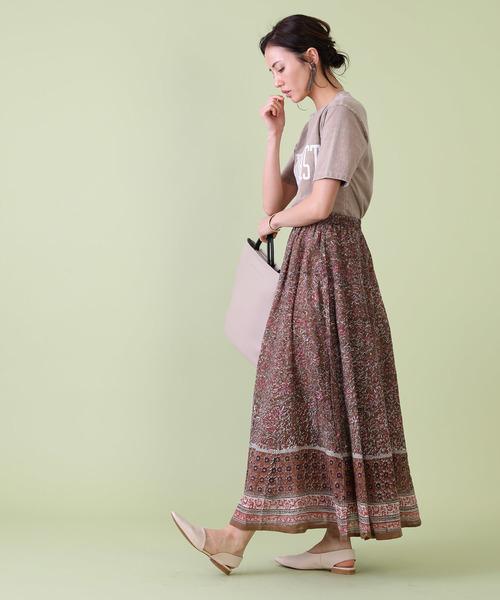 [FREAK'S STORE] 木版プリントジョーゼットスカート
