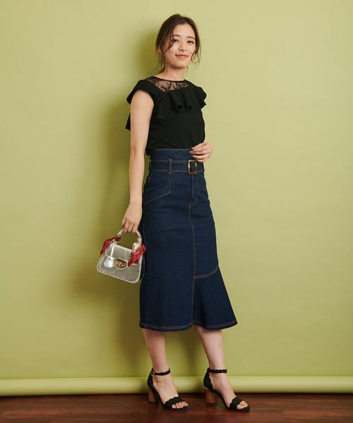 [Noela] アシメ切替デニムスカート