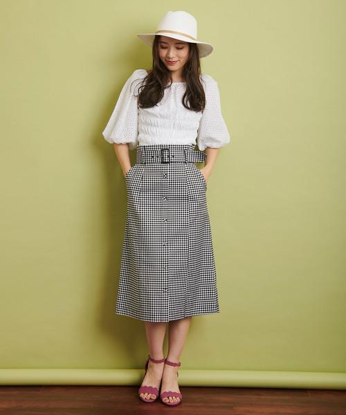 [Noela] 配色ステッチAラインスカート