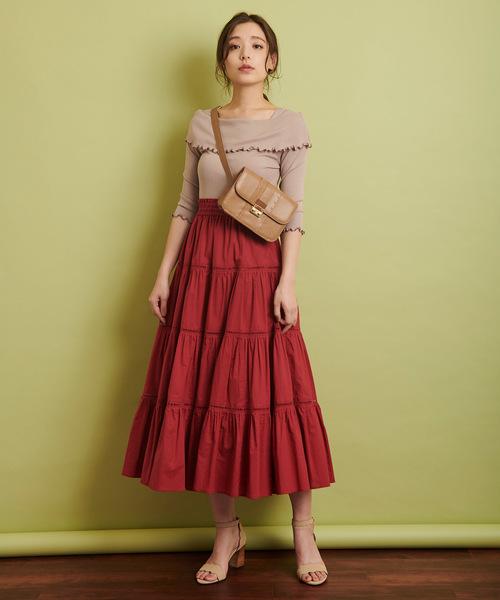 [Noela] コットンギャザーティアードスカート
