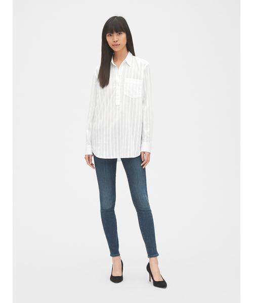 [GAP] ボーイフレンド ストライプ ポップオーバー チュニックシャツ